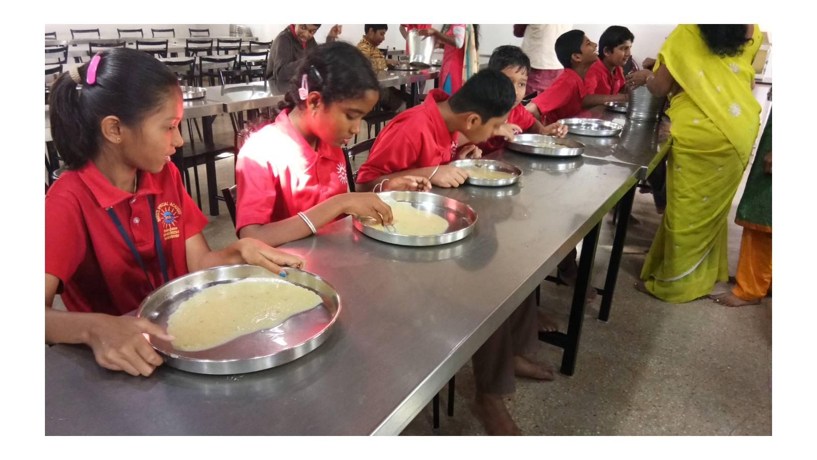 Shrist Special Academy, The students are of developmentally delay, austic, down's syndrome, ADHD and psychomotor retardation. Shristi provides them with special needs from the ages of infancy to adulthood. Maria Seva Sangha provides mid-day meal to these children on each working day.