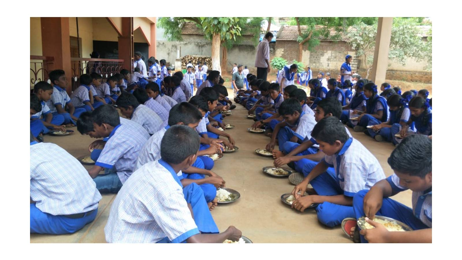 St. Charles Rural School:Few children bring food from home and some don't because of the family conditions. Hence Maria Seva Sangha started providing Mid-day Meal in this school.
