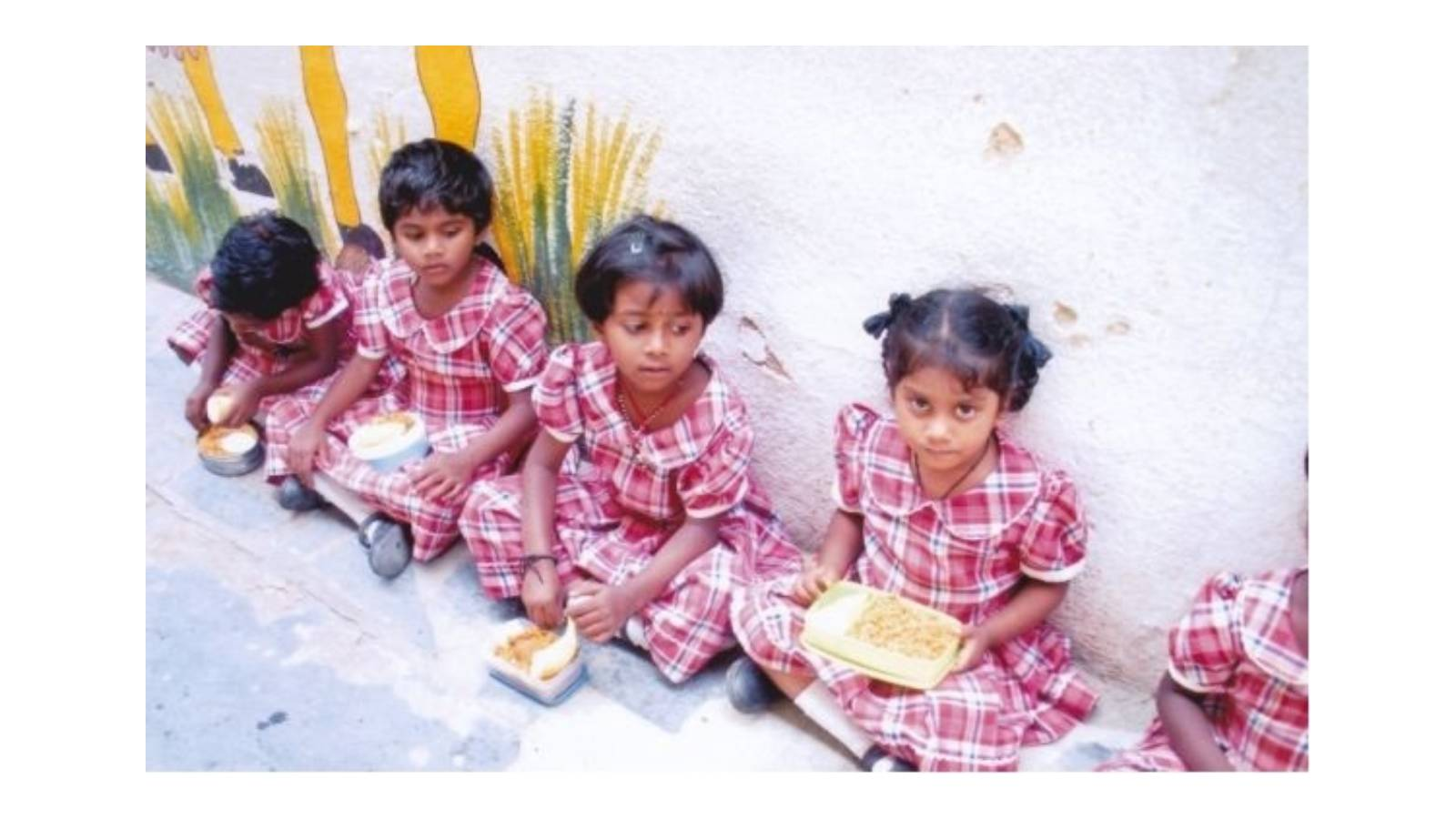 St. Euphrasia's Higher Primary School, the noon meal is given to the students on each working day by Maria Seva Sangha. In this school children hail from a poor socio-economic background.