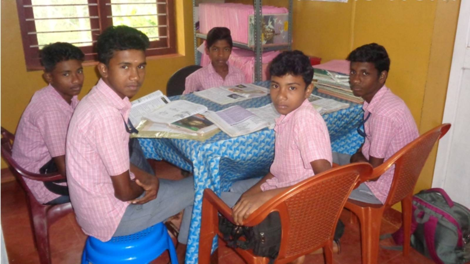 Students doing the