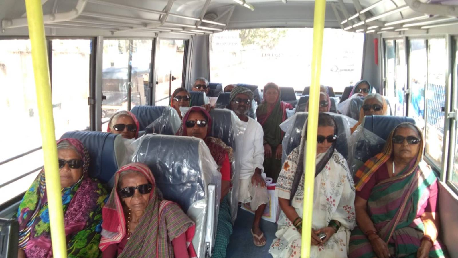 Patients being transported back to their village after surgery