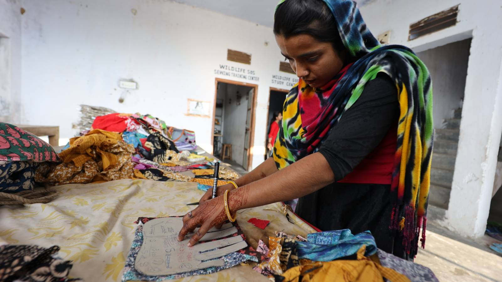 Rehabilitated Kalandar women received skill training and create beautiful merchandise as a way of earning an income