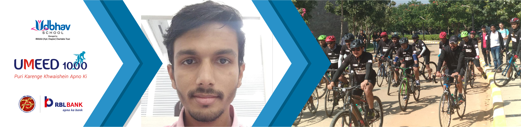 Sidhesh Nayak Cycles for Girls' Education as part of Umeed 1000 Cyclothon