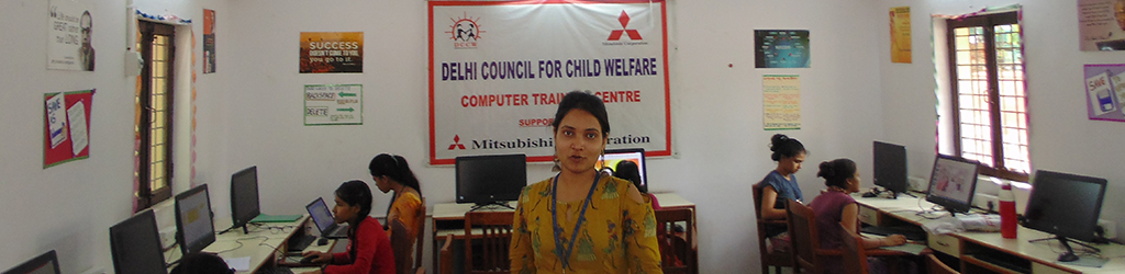 Computer training for 45 underprivileged young girls in Madipur centre in Delhi